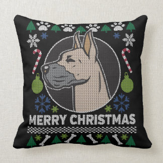 Great Dane Ugly Christmas Sweater Dog Design Throw Pillow