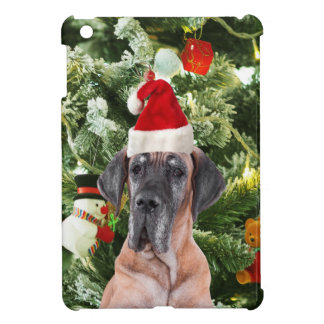 Great Dane w Christmas Tree Gift Boxes Santa Hat Case For The iPad Mini