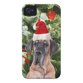 Great Dane w Christmas Tree Gift Boxes Santa Hat iPhone 4 Case-Mate Case