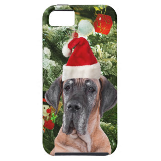 Great Dane w Christmas Tree Gift Boxes Santa Hat iPhone SE/5/5s Case
