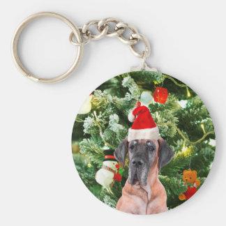 Great Dane w Christmas Tree Gift Boxes Santa Hat Keychain