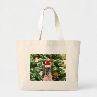Great Dane w Christmas Tree Gift Boxes Santa Hat Large Tote Bag