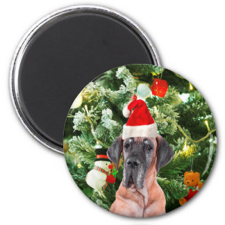 Great Dane w Christmas Tree Gift Boxes Santa Hat Magnet