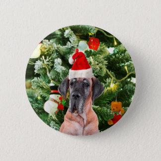 Great Dane w Christmas Tree Gift Boxes Santa Hat Pinback Button