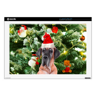 "Great Dane w Christmas Tree Gift Boxes Santa Hat Skin For 17"" Laptop"