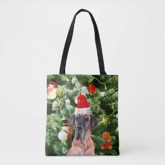 Great Dane w Christmas Tree Gift Boxes Santa Hat Tote Bag