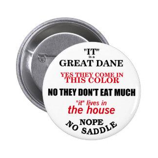 Great Dane Walking Answers Pinback Button