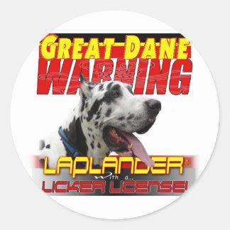 GREAT DANE WARNING LAP LANDER LICKER LICENSE CLASSIC ROUND STICKER