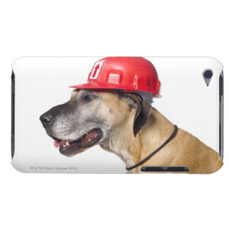 Great Dane wearing a red construction helmet Barely There iPod Case