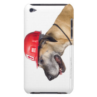 Great Dane wearing a red construction helmet Barely There iPod Cover