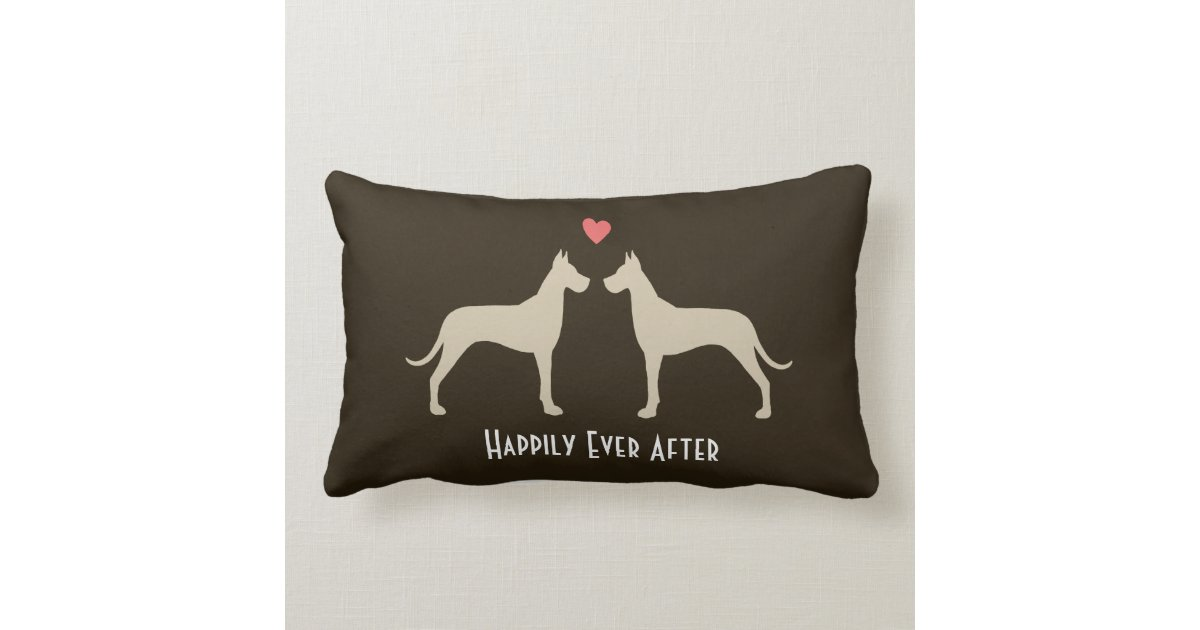 Great Dane Wedding Dogs with Text Throw Pillow Zazzle