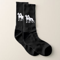 Great Dane White cropped uncropped large socks