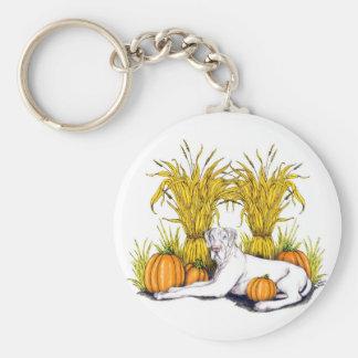 Great Dane White Harvest UC Basic Round Button Keychain