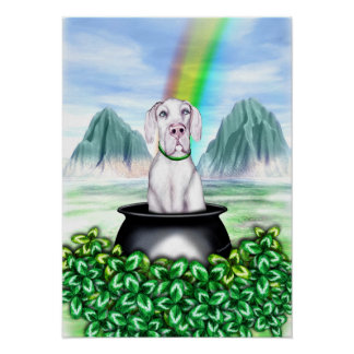 Great Dane White UC Pot O Gold Poster