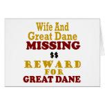 Great Dane & Wife Missing Reward For Great Dane Card