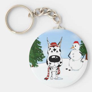 Great Dane Winter Scene Keychain