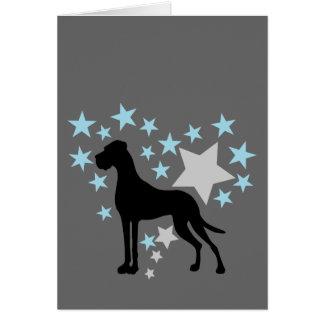 Great dane y un corazón de la estrella tarjeta de felicitación
