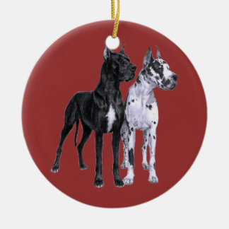 Great Danes Drawing Ceramic Ornament