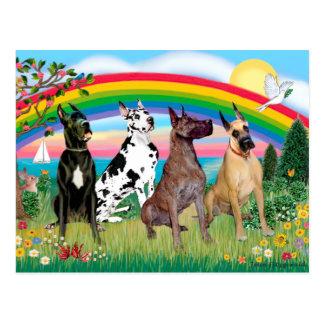 Great Danes (four) - Rainbow Bright Postcard