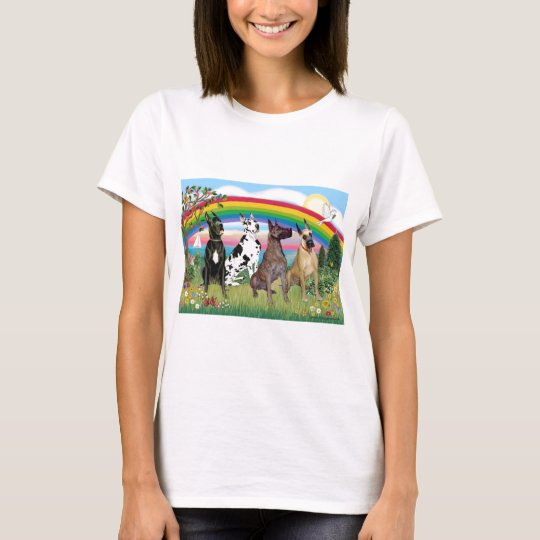 Great Danes (four) - Rainbow Bright T-Shirt