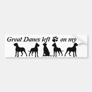 Great Danes left Paw Prints my Heart Fun Dog Quote Bumper Sticker