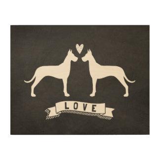 Great Danes Love - Dog Silhouettes w/ Heart Wood Wall Art