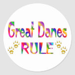 Great Danes Rule Classic Round Sticker