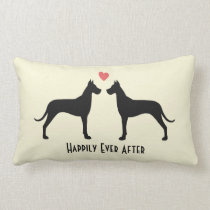 Great Danes Wedding Dogs with Text Lumbar Pillow