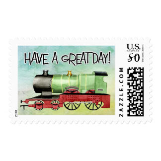 Great Day Tank Engine Train Birthday Stamp