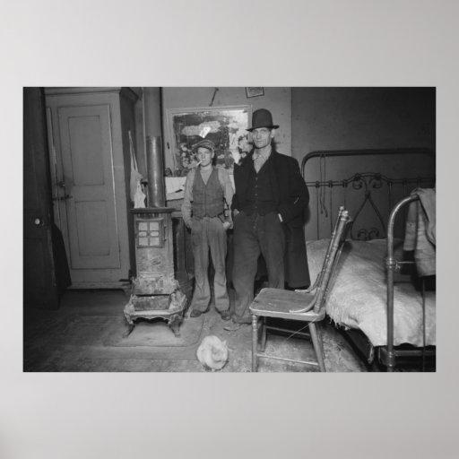 Great Depression Bedroom, 1930s Poster