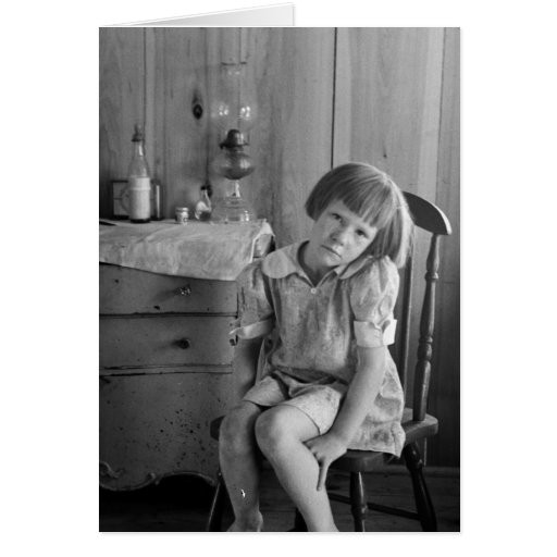 Great Depression Girl 1930s Greeting Card