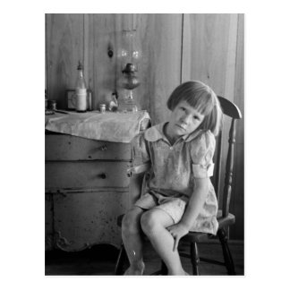 Great Depression Girl 1930s Postcard