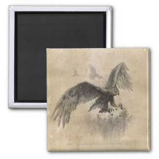 Great Eagles Sketch 2 Inch Square Magnet