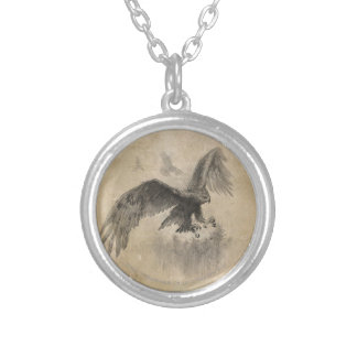 Great Eagles Sketch Round Pendant Necklace