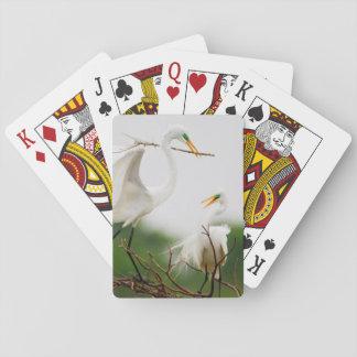 Great Egret (Ardea Alba) Breeding Activity Playing Cards