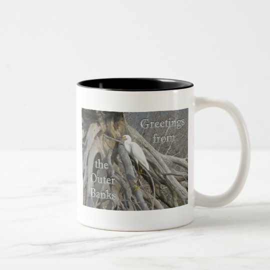 Great Egret (Ardea alba) OBX Outer Banks Two-Tone Coffee Mug