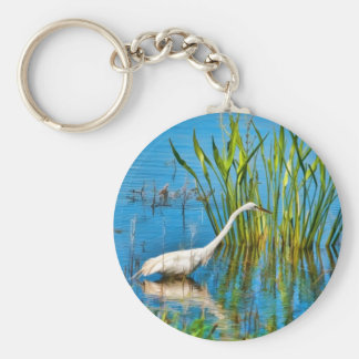 Great Egret at a Pond Keychain