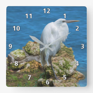 Great Egret at Water's Edge Square Wall Clock