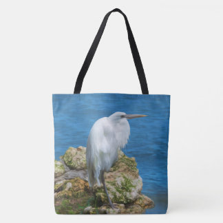 Great Egret at Water's Edge Tote Bag