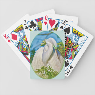 Great Egret Bird Taking a Nap Playing Cards