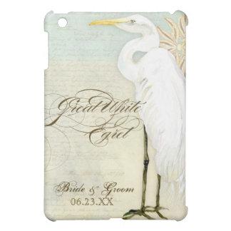 Great Egret Coastal Beach , Personalized Wedding iPad Mini Cases