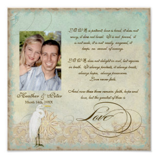 Great Egret Coastal Beach - Wedding Personalized Print