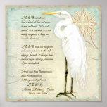 Great Egret Coastal Beach - Wedding Personalized Poster