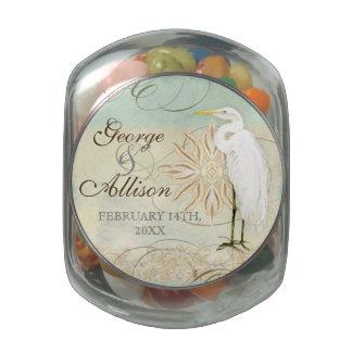 Great Egret Coastal Beach - Wedding Sticker Seal Glass Jar