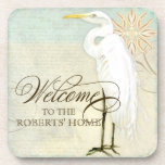 Great Egret Coastal Beach - Welcome to our Home Beverage Coasters