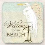Great Egret Coastal Beach - Welcome to the Beach Beverage Coasters