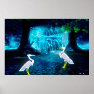 Great Egret Falls Poster