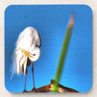 Great Egret HDR Photograph Beverage Coaster