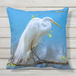 Great Egret in a Tree Outdoor Pillow