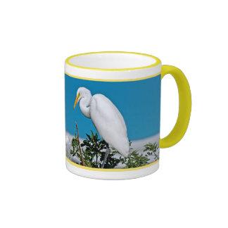 Great Egret in a Tree Ringer Mug